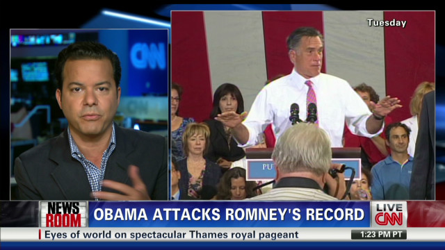 Obama attacks Romney's record
