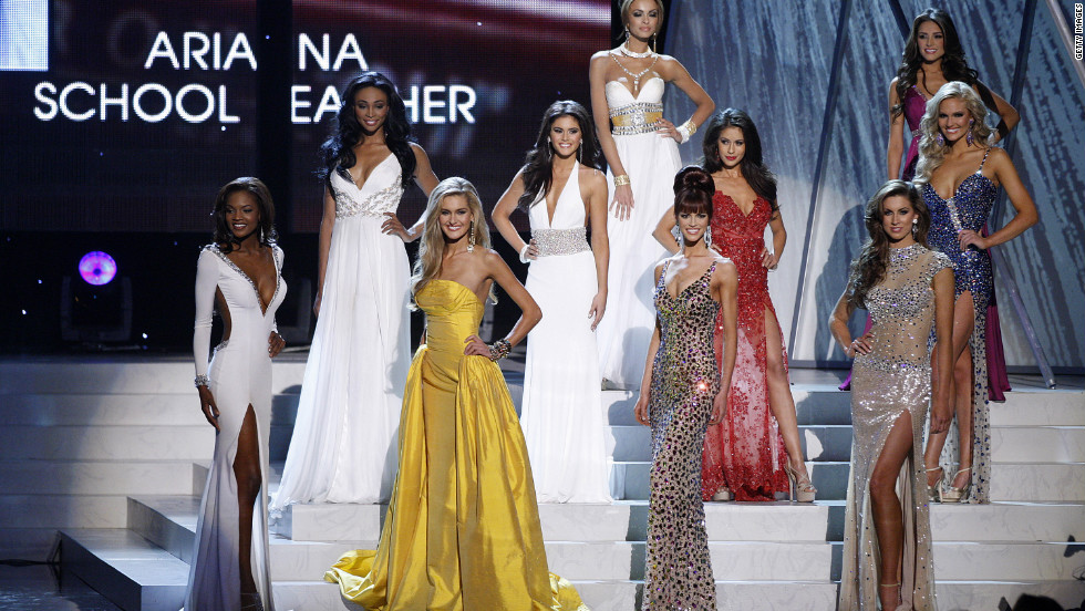 Contestants don evening gowns after being narrowed to a group of 10 from 50.