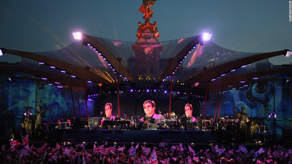 "Elton John began his set with ""I'm Still Standing,"" perhaps also in homage to the queen's long reign."