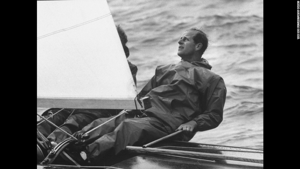 Prince Philip sails during the Cowes Regatta in August 1962.