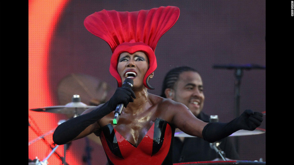 Singer Grace Jones performs during the Diamond Jubilee concert Monday, June 4, at Buckingham Palace in London.