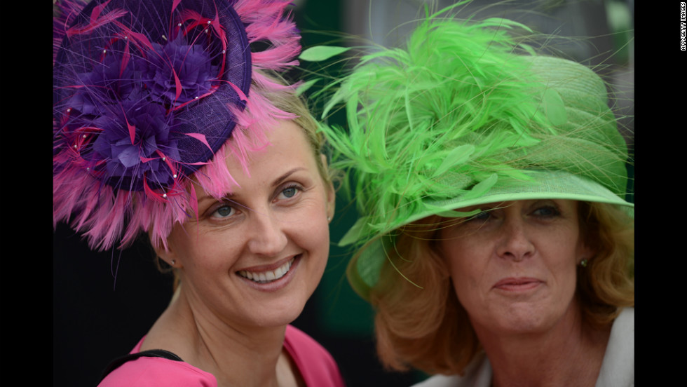 Racegoers don colorful hats on Derby Day at the Epsom Derby horse-racing festival Saturday, the first day of the Diamond Jubilee festivities.