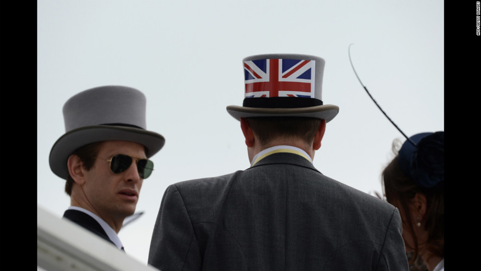 A top hat with a Union Jack sets the scene Saturday for the Epsom Derby horse-racing festival Saturday.