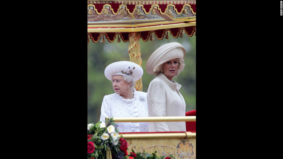 Camilla, Duchess of Cornwall, joins Queen Elizabeth II on the royal barge Spirit of Chartwell during Sunday's Jubilee pageant on the River Thames.