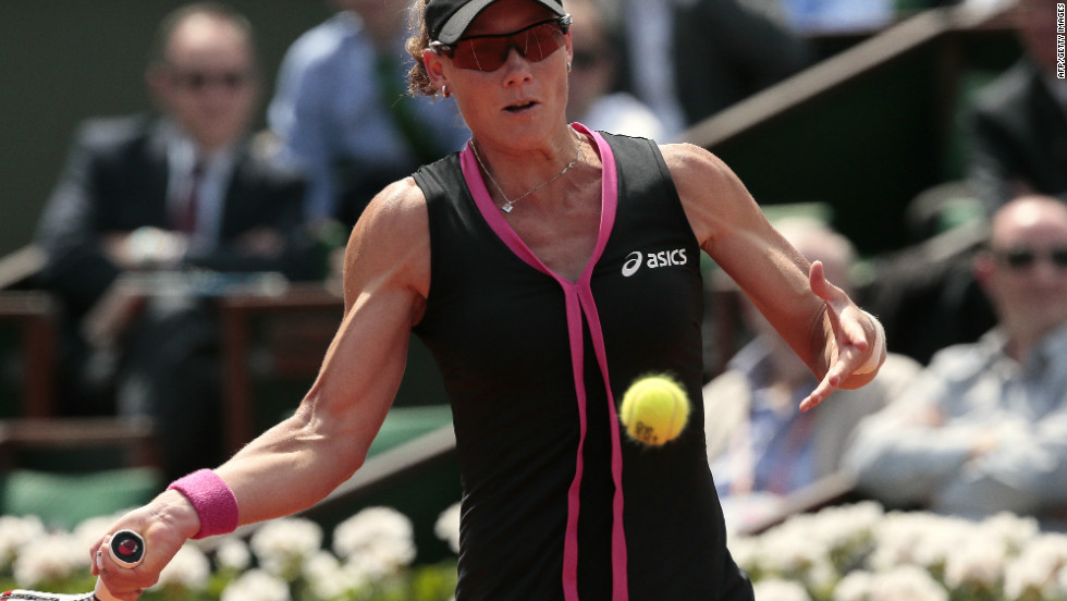 U.S. Open champion Samantha Stosur beat Slovakia's Dominika Cibulkova to reach the semifinals of the French Open for the third time in four years.
