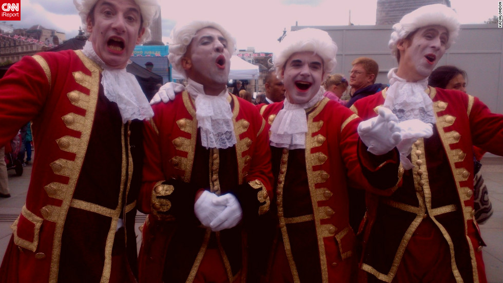 "kasialondon stumbled upon court jesters entertaining at London's iconic Trafalgar Square in celebration of the queen's Diamond Jubilee. ""The jesters were joking, laughing and making merriment for people,"" she says. ""It was a lot of fun."""