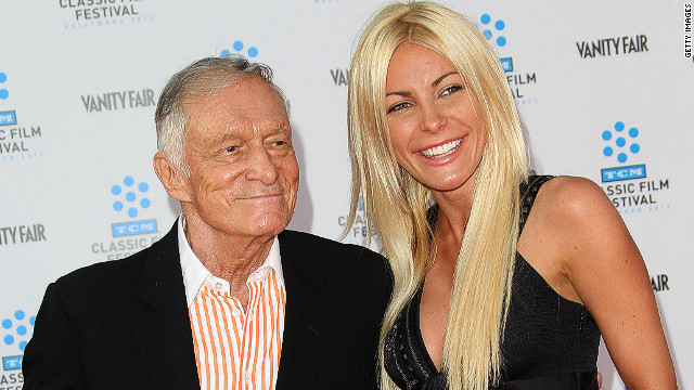 "HOLLYWOOD, CA - FILE: Playboy founder Hugh Hefner (L) and his fiancee Crystal Harris attend the TCM Classic Film Festival Opening Night Gala and World Premiere of the film ""An American In Paris"" at Grauman's Chinese Theatre on April 28, 2011 in Hollywood, California. According to reports June 14, 2011 Crystal Harris has called off her wedding with Hugh Hefner. The wedding was scheduled for June 18, 2011 at the Playboy Mansion. (Photo by Frederick M. Brown/Getty Images)"