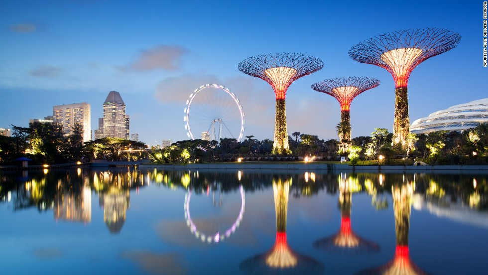 "At Singapore's ""Gardens in the Bay"" development, man-made ""supertrees"" collect solar energy during the day, which is used to light the magnificent structures after night fall."