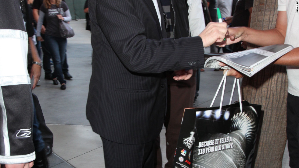 Martin Short attends a L.A. Kings game and signs autographs in Los Angeles.