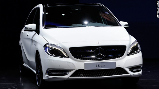 Mercedes Benz presents the new B-Class during the press days at the IAA Frankfurt Auto Show on September 13, 2011.