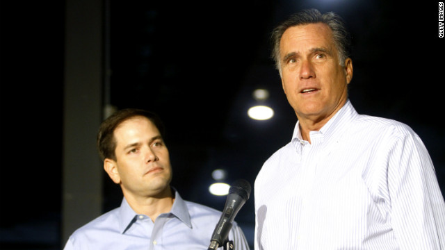 Mitt Romney and Marco Rubio are pictured on the campaign trail in 2012.