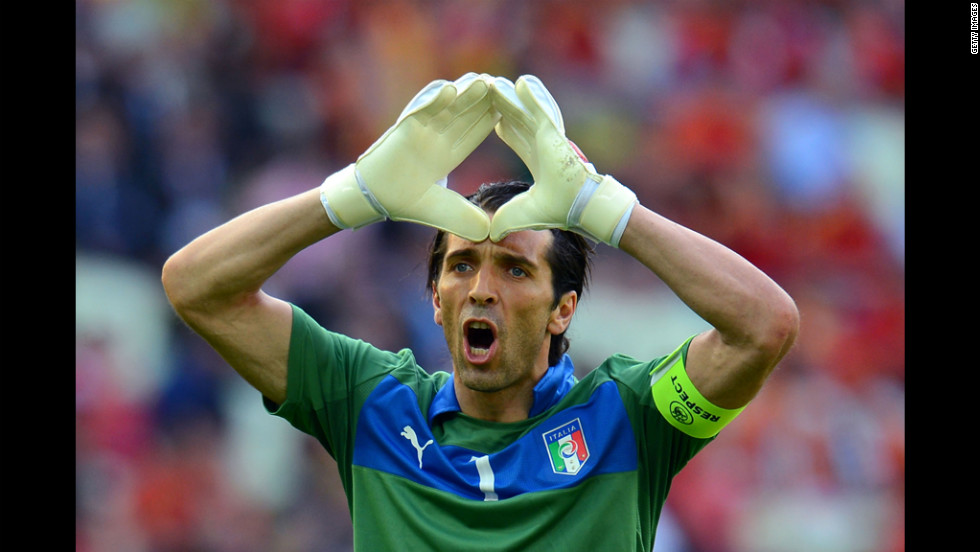 Italy's Gianluigi Buffon gestures duriing the match against Spain.
