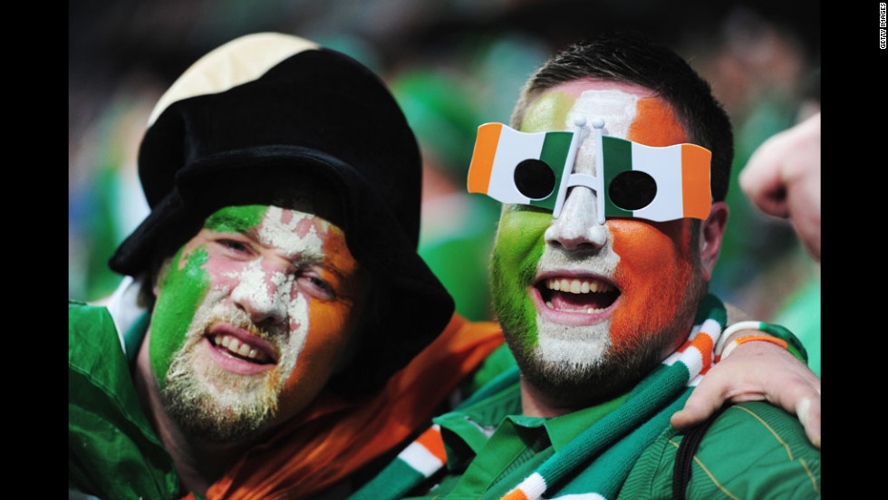 Ireland fans enjoy the atmosphere before Sunday's match against Croatia.
