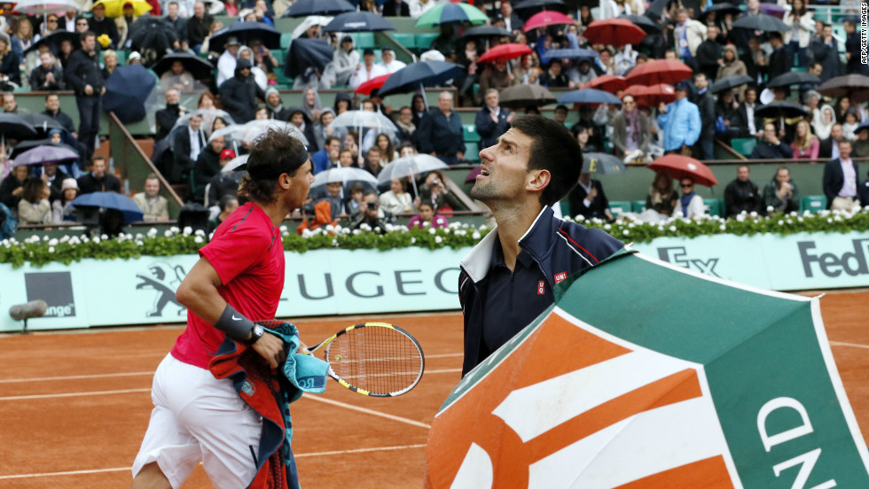 Wet weather in Paris was a constant concern for the players. The final was held over from Sunday, then Nadal won six of nine games played on Monday despite another downpour.