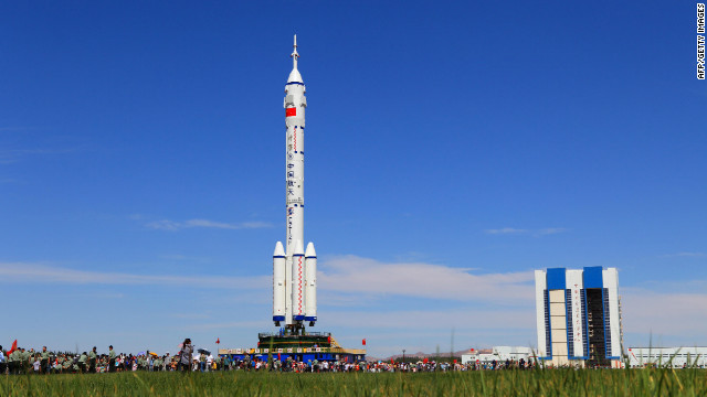 The Shenzhou-9 spacecraft and its carrier rocket are seen Saturday at the launch platform in northwest China's Gansu province.