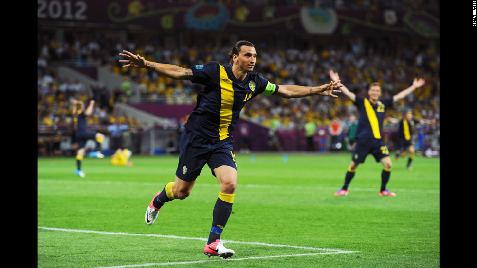 Zlatan Ibrahimovic celebrates scoring Sweden's first goal against Ukraine.