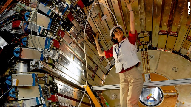 CERN experimental physicist Fabiola Gianotti in the ATLAS detector, 14 April, 2007.