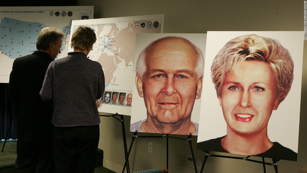 "For years, the FBI's most-wanted fugitive -- James ""Whitey"" Bulger -- and his girlfriend Catherine Greig lived as ""Charlie and Carol Gasko"" in a palm-tree-lined oceanside apartment near Los Angeles before their capture in 2011.  Here, illustrations of Bulger's and Greig's possible likenesses are displayed at a news conference in 2004."