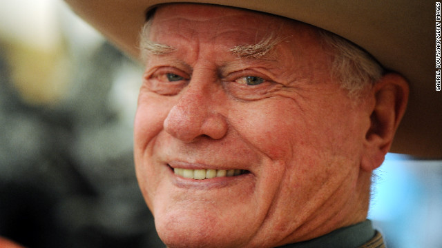 "Actor Larry Hagman played the original handsome arch-villain J.R. Ewing on the prime-time soap ""Dallas."""