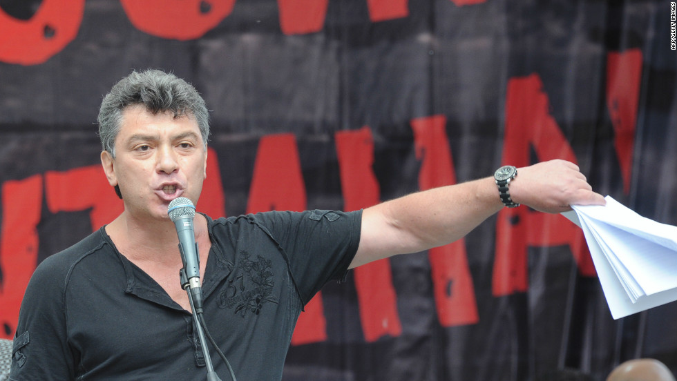 One of Russia's opposition leaders, former first deputy prime minister Boris Nemtsov, speaks during the opposition rally in Moscow.