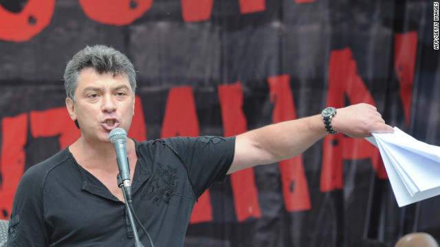 One of opposition leaders, former first deputy prime minister Boris Nemtsov, speaks during an opposition rally in Moscow, on June 12, 2012. Tens of thousands of protesters chanting 'Russia Will be Free' rallied today in Moscow against President Vladimir Putin's third term despite a police crackdown on their leaders a day earlier. AFP PHOTO / ALEXANDER NEMENOV (Photo credit should read ALEXANDER NEMENOV/AFP/GettyImages)