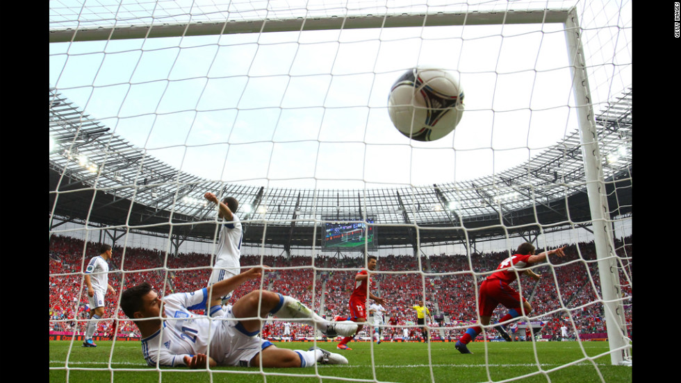The Czech Republic's Vaclav Pilar, right, scores the second goal of the match against Greece.