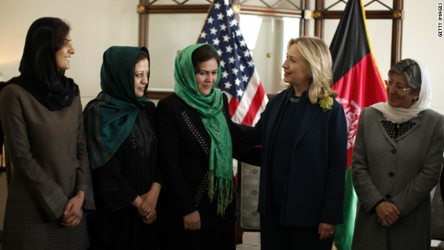 Secretary of State Hillary Clinton meets with Fawzia Koofi and other Afghan women during at the U.S. Embassy in Kabul in October 2011.