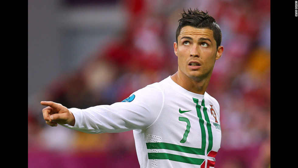 Cristiano Ronaldo of Portugal gestures during the match against Denmark.