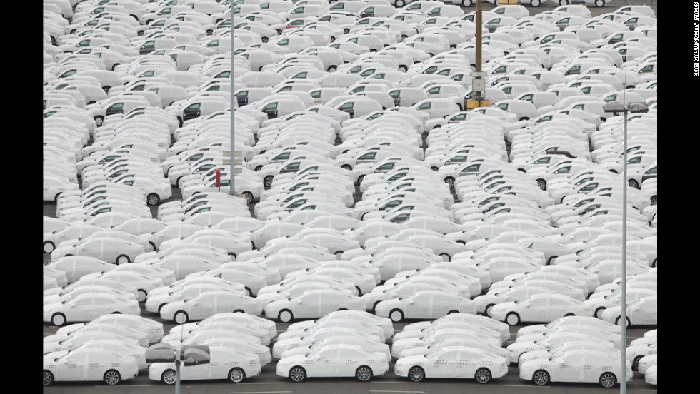 Audi and Volkswagen cars destined for export stand in the port of Emden, Germany, on Wednesday. Volkswagen reported a 9.4% increase in car deliveries in the first five months of 2012.