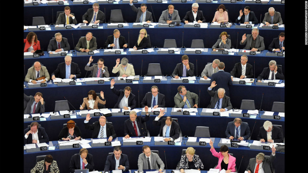 Members of the European Parliament take part in a voting session Wednesday in Strasbourg, France.