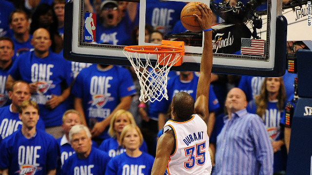 Oklahoma's Kevin Durant slams in two points on his way to a 36-point haul in Game 1 of the NBA Finals series.
