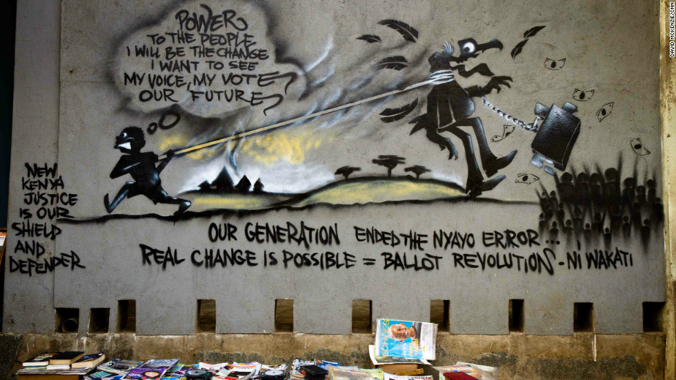 Details from one wall work that sums up the group's message to Kenyan voters.