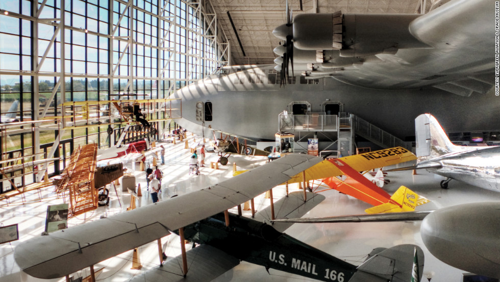 More than 66 years after it first flew, Howard Hughes' gigantic, wooden H-4 Hercules -- nicknamed the Spruce Goose -- still has one of the widest wingspans of any airplane: 320 feet. It's housed at the Evergreen Aviation & Space Museum, in McMinnville, Oregon.