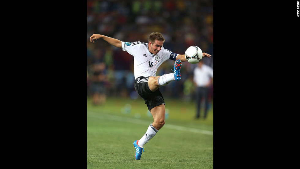 Philipp Lahm of Germany controls the ball during the Group B match between Netherlands and Germany on Wednesday, June 13.