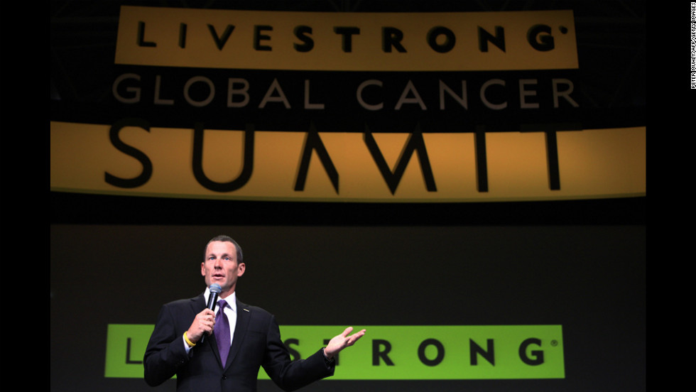 Armstrong launches the three-day Livestrong Global Cancer Summit in 2009 in Dublin, Ireland. The event was organized by his foundation.