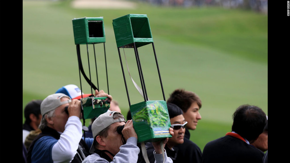 Fans watch the play during the first round of the U.S. Open.