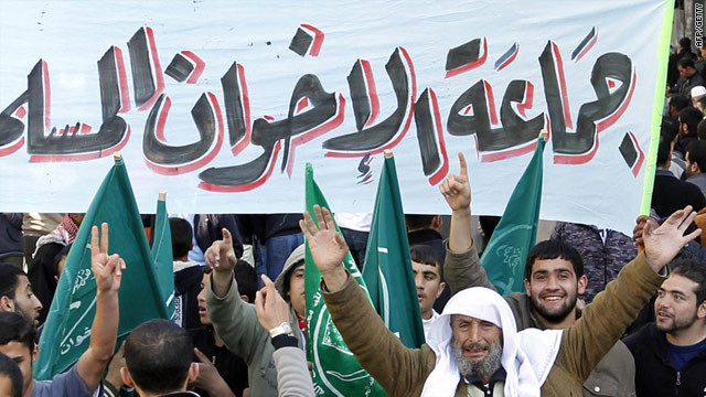 Members of the Muslim Brotherhood movement shout slogans in Amman, Jordan.