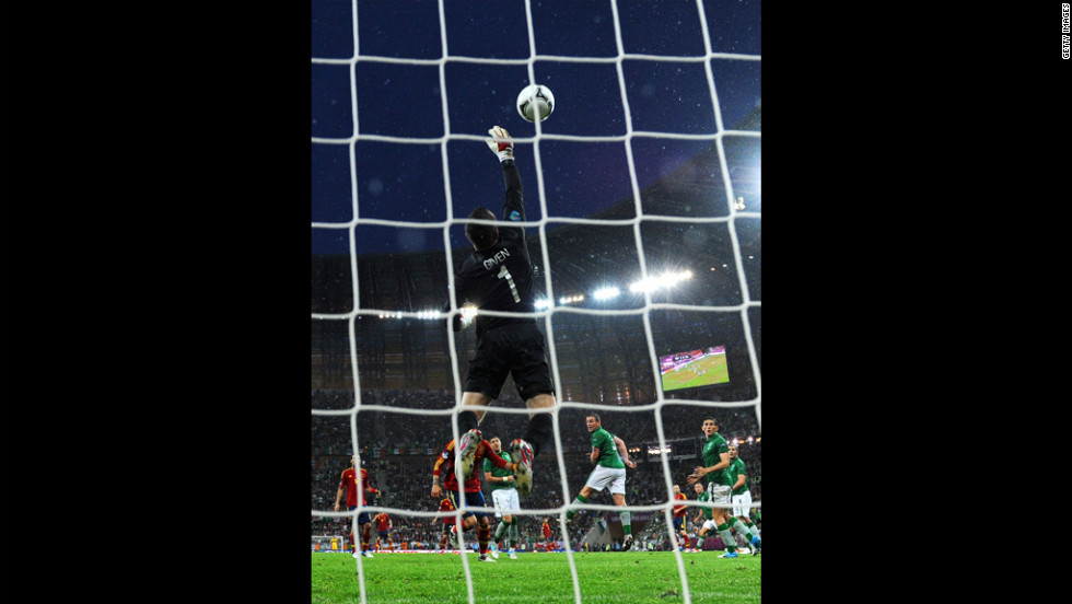 Shay Given of Republic of Ireland makes a save during the match between Spain and Ireland.
