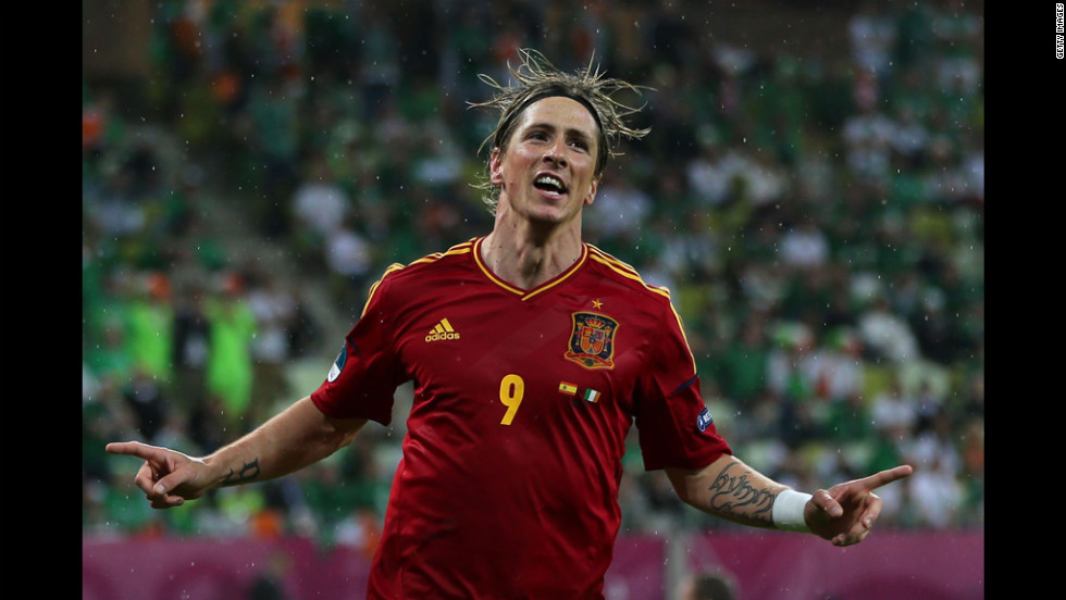 Fernando Torres of Spain celebrates scoring the team's third goal during the match between Spain and Ireland.