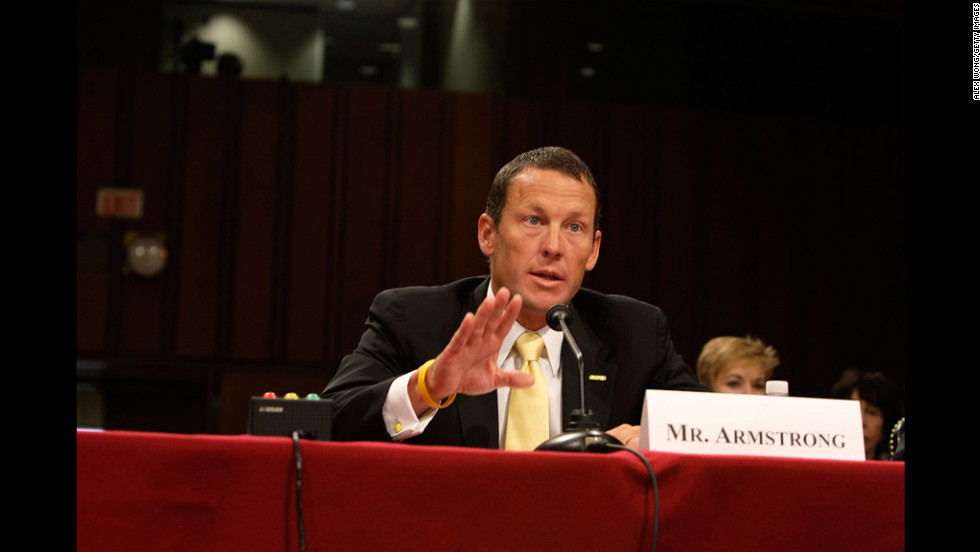 Armstrong testifies during a Senate hearing in 2008 on Capitol Hill. The hearing focused on finding a cure for cancer in the 21st century.