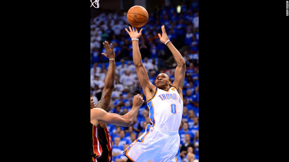 The Thunder's Russell Westbrook shoots the ball in the lane against the Miami Heat in the first quarter.