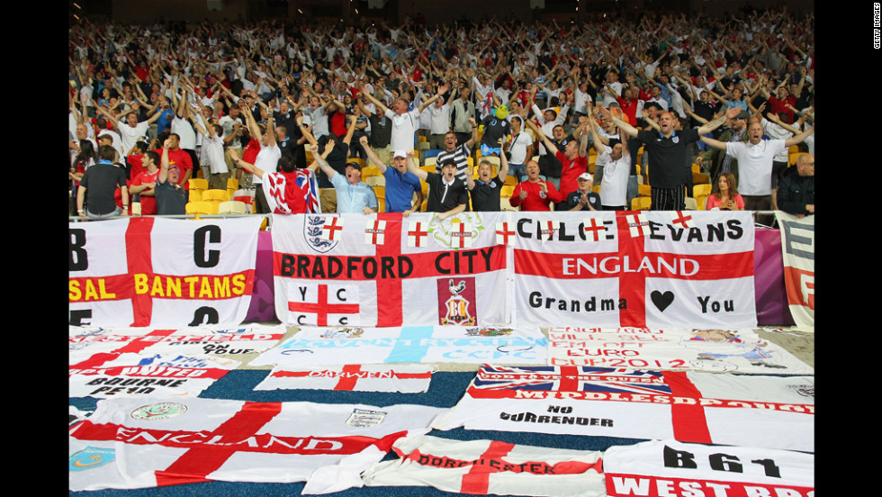 England fans soak up the atmopshere ahead of the Sweden-England matchup.