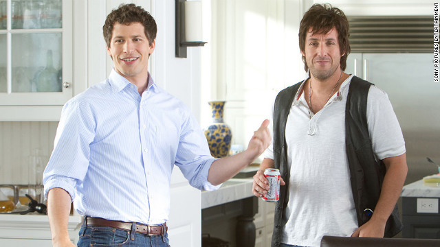 "Andy Samberg (left) and Adam Sandler play a neurotic son and out-of-control father in ""That's My Boy."""