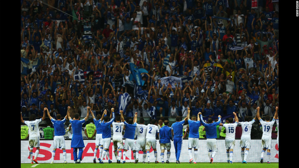 The Greece team celebrate during match between Greece and Russia.