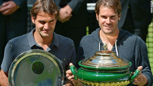 Tommy Haas with the winning trophy after beating Roger Federer in the final at Halle.