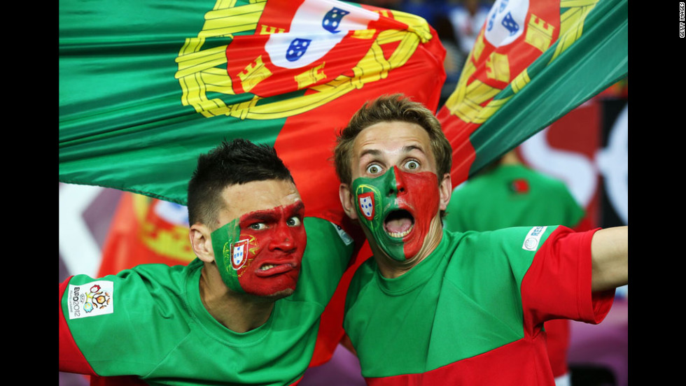 Fans of Portugal rally ahead of the team's match against Netherlands in Metalist Stadium.
