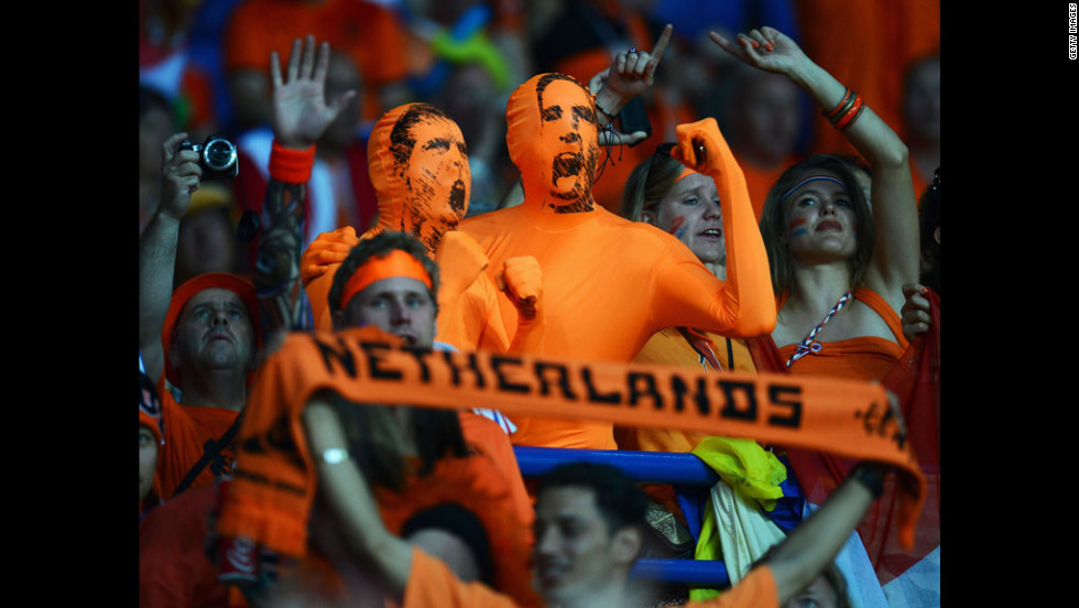 Dutch fans cheer during the match against Portugual on Sunday.