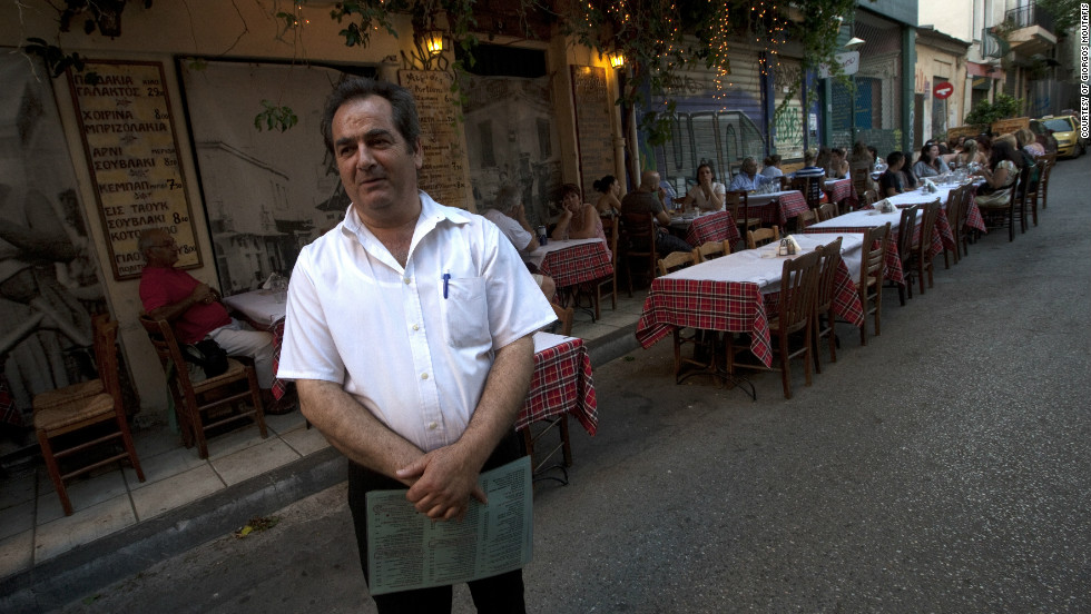 Mario Makris, a restaurant worker in the Psiri area of Athens, says business has dropped more than 60%.