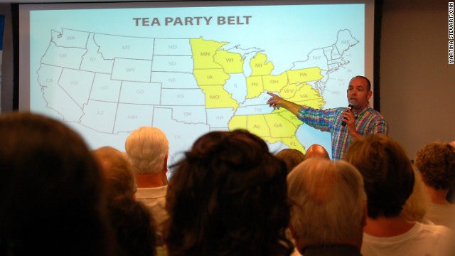 "FreedomWorks' Russ Walker shows activists a map of the ""tea party belt,"" states where the movement has had success."