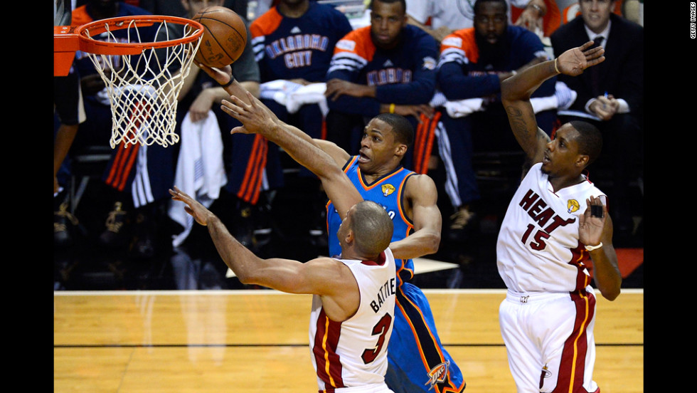 Russell Westbrook of the Oklahoma City Thunder attempts a shot.